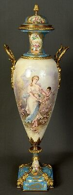 """Rare Late 19th Century Signed 33"""" Monumental Sevres Urn Vase with Ormolu"""