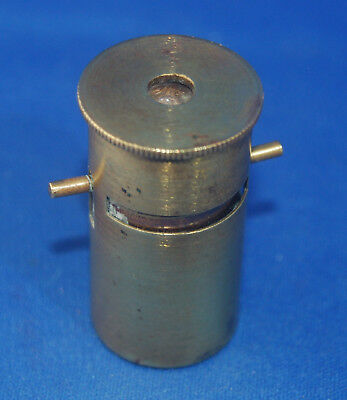 An antique Victorian brass pocket microscope, no box or slides