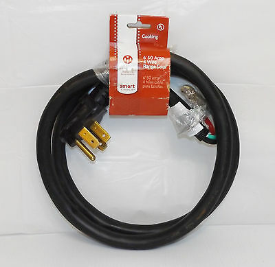 NEW! Smart Choice 6 Foot 4 Wire 50 Amp Range Power Cord {4624}