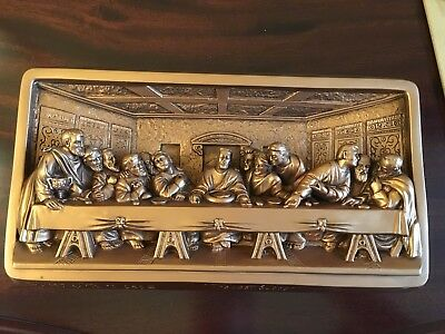 """""""The Last Supper"""" Antique Gold Plaque By Victor, Creative Arts, Inc. 1959"""