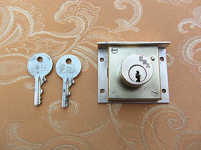 Old Vintage ERA brass highly secure draw lock with 2 original keys REFURBISHED.