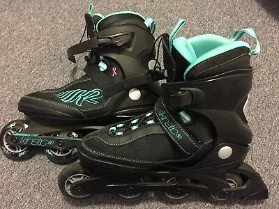 K2 Kinetic 80 women's inline stakes and protective gear size 7