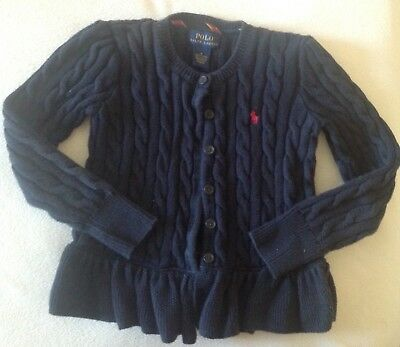Polo Ralph Lauren navy blue botton cardigan girls size:6 USED