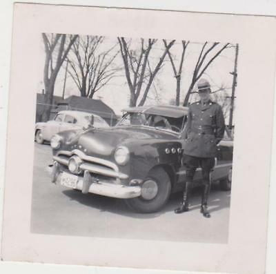 Original Photo Canadian Mounted Policeman And Ford Car  C 1952