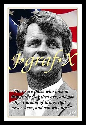ROBERT F. KENNEDY - Bobby RFK - US FLAG - PORTRAIT POSTER - REALLY COOL ARTWORK!