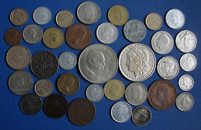 WORLD LOT OF COINS (30 coins+5 silver coin+ copy one dollar )