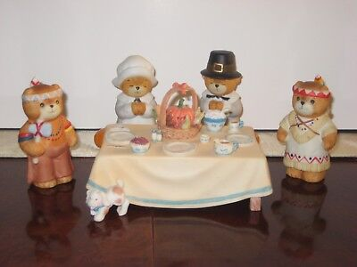 Lucy and me bears Thanksgiving Pilgrim and Indian Bears around table