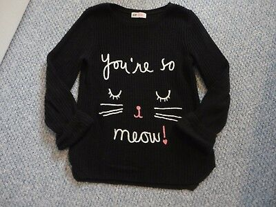 Girls H&M 8-10 years BLACK L/S cat jumper ex condition oversize style