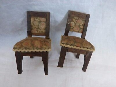 Dolls' House Miniature - 2 X Vintage Wooden Upholstered Chairs