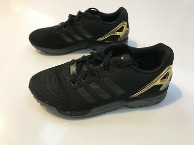 Boy's Adidas trainers ZX Flux Size 5 38 Black and Gold RRP £50