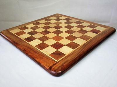 """VINTAGE CHESS BOARD SOLID SHEESHAM WOOD 16""""  squares of 40 mm"""
