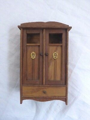 Dolls' House Miniature - Vintage Wardrobe With Gilt Metal Decoration