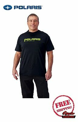 Polaris Brand Men's Established T-Shirt Black W/ Lime New Rzr Rmk Ace New