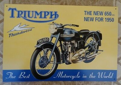 1950 Triumph Thunderbird 650cc Motorcycle Metal Sign - Made in USA - OHIO