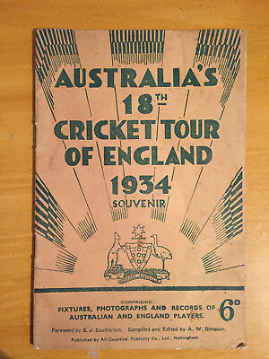 1934 Australia 18th Cricket tour of England Ashes Tour Brochure vgc