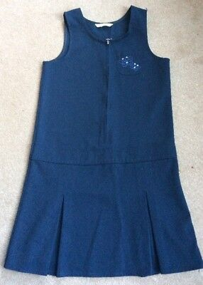 M&S Girls Navy School Pinafore Dress Age 9