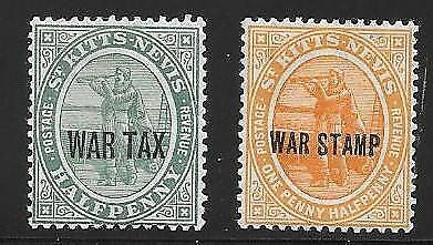 St. Kitts - Nevis  War Tax Stamps.   Mint Light Hinged