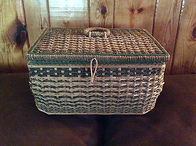Vintage 1930's  Sewing Basket - Rope, Rattan and Wood - Green Lining