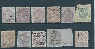 Queen Victoria Fiscal Revenues Stamps Penny Inland Revenue and Others x 11, No 1