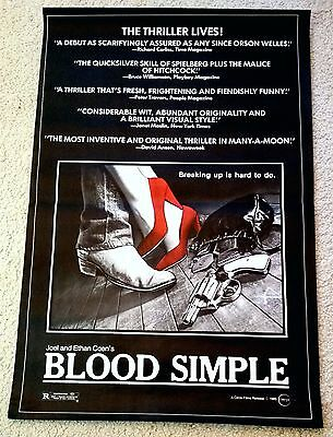 BLOOD SIMPLE (1985) Coen Brothers ORIGINAL One Sheet MOVIE POSTER! ROLLED!