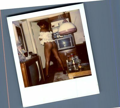 Found Risque Polaroid T+2295 Sexy Black Woman Posed In Panties From Behind