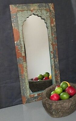 Antique/vintage Indian. Larger Arched Temple Mirror. Sage, Grey & Cappuccino.