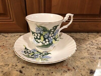 Vintage Royal Dover Cup and Saucer Floral Lily Of The Valley Gold Trim
