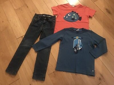 Boys Frugi Organic Cotton Bundle Age 6-7 2x Tops And 1 Jeans