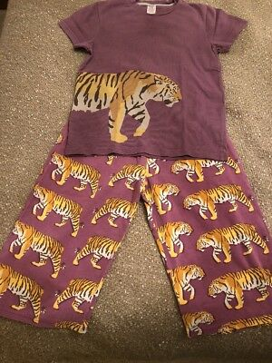 Mini Boden Boys Pyjamas Aged 9 To 10 Purple With Tiger picture