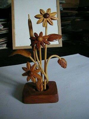 "vintage hand carved wood flower arrangement 8"" tall all solid wood nice and neat"