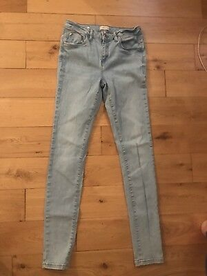 Ladies Light Blue River Island Skinny Stretch Jeans Size 12 Long