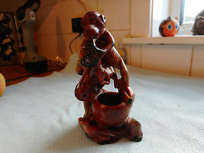 Vintage Chinese Soapstone Carving Monkeys Eating Fruit