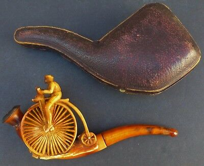 """Antique Meerschaum Pipe High Wheel Bicycle With Original Leather Case 5 1/2"""""""