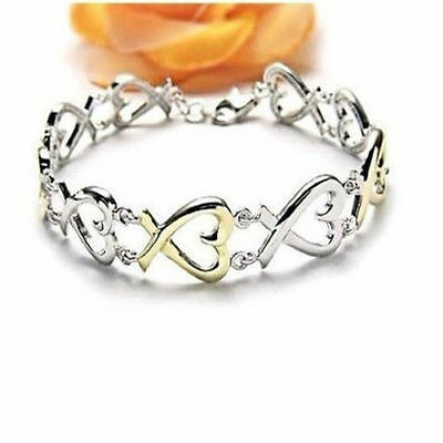Gift Ladies Discount Solid 925 Silver Jewelry Gold Silver Heart Bracelet