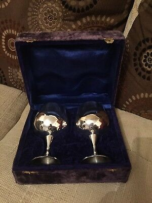 Pair Of Silver Plated Goblets Cups Boxed