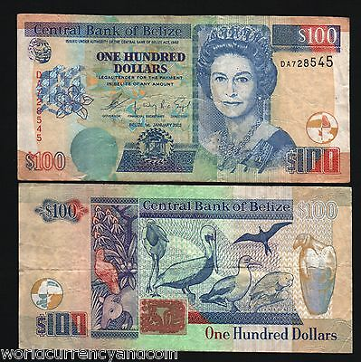 Belize 100 Dollars P71 2003 Queen Tapir Pelican Caribbean Gb Uk Money Bank Note