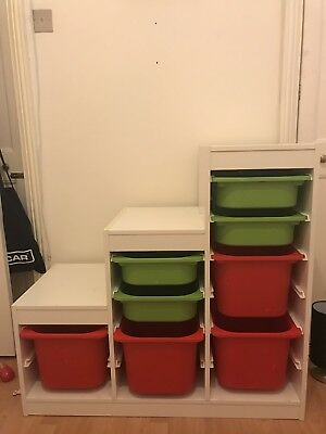 Ikea Trofast storage unit with all the boxes.