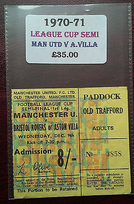 1970 - 71 Manchester United Vs. Aston Villa Match Ticket - League Cup Semi Final