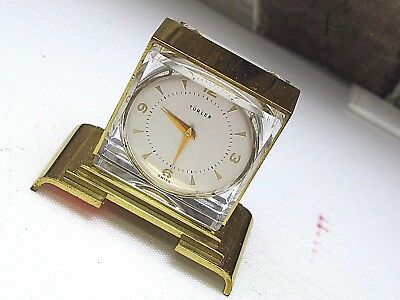 collectible mini clock Swiss made serviced in good condition TURLER home watch