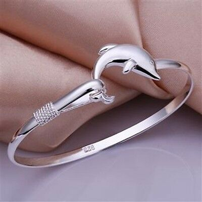 Wholesale Women Ladies Jewelry 925 Solid Silver Dolphin Bracelet Bangle Gift