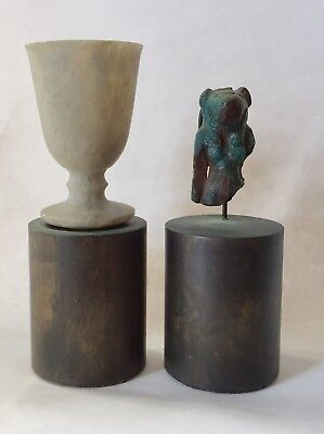 Egyptian Faience Amulet Sekhmet & Alabaster Drinking Cup Pottery - Custom Stands