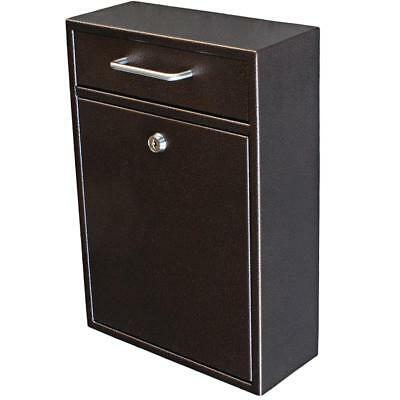 Mail Boss Olympus Locking Wall-Mount Drop Box w/High Security Lock Bronze  7418