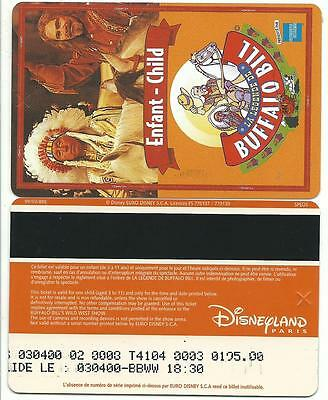 pass Euro Disney Disneyland spectacle WWS 8 enfant verso SPEOS 99/03/BE TTB