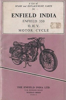 Enfield India 350 Motor Cycle parts and replacement parts book Jan 1977