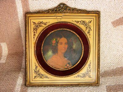 Antique Celluloid Portrait Metal Frame Victorian Young Lady Handpainted