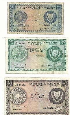 Cyprus 250Mil 500Mil & 1 pound 3 pieces lot S/N4827