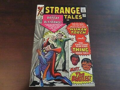Strange Tales #130 (Mar 1965, Marvel) Dr Strange Human Torch 1st BEATLES VF- 7.0
