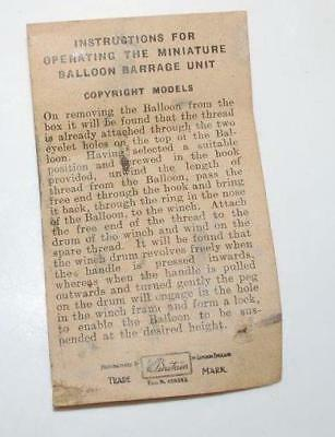 Genuine Vintage  Britains Miniature Barrage Balloon Set - Operating Instructions
