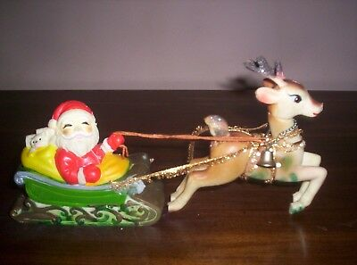 Vintage Christmas Rubber Santa with Sleigh and Reindeer