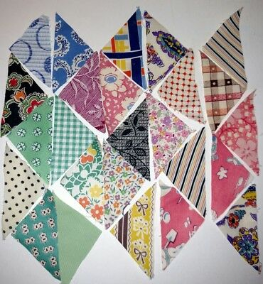 Vintage QUILT FABRIC PIECES c1920 Tiny TRIANGLES Hundreds Old Fabrics  LOT C